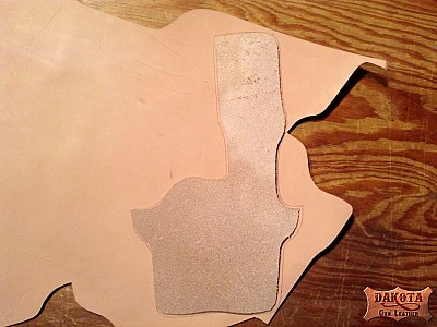 2 Cutting holster layers out of 7-8oz Hermann Oak Leather